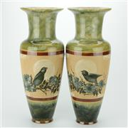 Sale 8264 - Lot 47 - Florence E Barlow Doulton Lambeth Pair of Vases