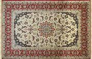 Sale 8256B - Lot 99 - Super Fine Silk Inlaid Persian Isfahan With Signature 235cm x 160cm RRP $12,000