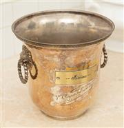 Sale 8902H - Lot 56 - A vintage French silver plated champagne bucket by Veuve Cliquot with lion head ring handles, some small wear/dents  21 cm
