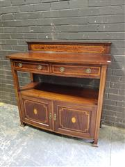 Sale 8976 - Lot 1057 - 1920s Inlaid Maple Dumbwaiter, with two drawers, open shelves & two doors (h:122 x w:122 x d:52cm)