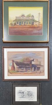 Sale 8973 - Lot 2055 - Vivian Dwyer (3 works) Broken Hill Hotel, Boulder WA; The Old Shop, Gulgong pastel, 53 x 60cm; 45 x 61cm, plus A Pencil Example (f...