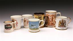 Sale 9110 - Lot 52 - A collection of commemorative mugs inc Royal Doulton The history of the Ashes