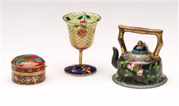 Sale 9110 - Lot 374 - Three Chinese cloisonne items to include Plique-a-Jour shot cup H5cm