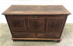 Sale 9126 - Lot 1013 - Late Georgian Oak Mule Chest, cross-banded in mahogany, with hinged lid, panelled front with a long drawer below, flanked by quarter...