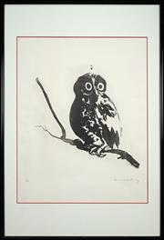 Sale 8459 - Lot 554 - Brett Whiteley (1932 - 1992) - Owl 50 x 50cm