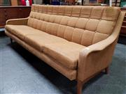 Sale 8476 - Lot 1032 - Vintage Australian Four Seater Lounge with Buttoned Woollen Upholstery