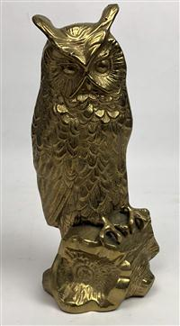 Sale 8725A - Lot 27 - A heavy guage Indian bronze sculpture on an owl. Height 25cm