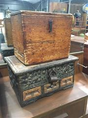 Sale 8740 - Lot 1461 - Two Rustic Timber Lift Top Boxes (Lock in office)