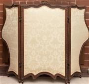 Sale 8881H - Lot 68 - A three fold screen with brocade upholstery on shaped carved frame with ribbon detail. Height 84cm