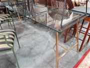 Sale 8904 - Lot 1086 - Glass Top Table with Gilt Trestle Base