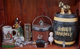 Sale 9103H - Lot 14 - A shelf lot of drinking wares to include horse themed barrel and ice bucket and sundry others, Height of barrel 42cm