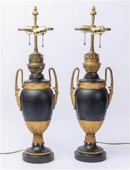 Sale 9135H - Lot 82 - A pair of French 19th century neoclassical urns, converted to lamps, Australian adapter required. 67cm Height