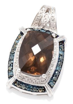 Sale 9156J - Lot 516 - A SMOKY QUARTZ AND DIAMOND PENDANT; set in silver with a 14 x 10mm chequerboard cushion cut smoky quartz to  surround and bale set w...