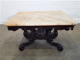 Sale 9179 - Lot 1057 - Good Victorian Mahogany Centre Table, with Sienna marble top, on a bold scrolled & carved bird-cage base with centre finial (h:75 x...