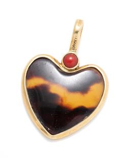 Sale 9253J - Lot 513 - AN 18CT GOLD STONE SET HEART PENDANT BY WHITE; bezel set back and front with a heart shape tortoise shell plaque to bail set with a...