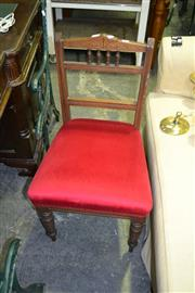 Sale 8093 - Lot 1320 - Pair of Red Upholstered Dining Chairs