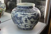 Sale 8308 - Lot 18 - Large Blue and White Dragon Guan Jar