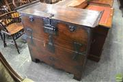 Sale 8335 - Lot 1064 - Korean Pine & Iron Bound Storage Chest, with himged front (Key in Office)