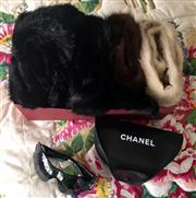 Sale 8369A - Lot 398 - A quantity of fur collars and a set of cuffs, together with a pair of Chanel sunglasses