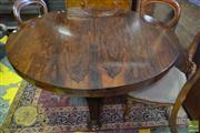 Sale 8520 - Lot 1047 - Victorian Rosewood Supper Table, with circular top, on an associated inverted faceted pedestal & triform base (top and base do not c...