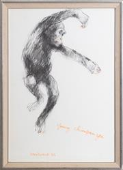 Sale 8530A - Lot 280 - Margaret Woodward - Young Chimpanzee 107 x 74cm