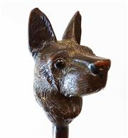Sale 8888H - Lot 92 - An antique large carved wood dog head with glass eyes walking stick/cane. Head size 16cm x 10cm, overall height 99cm