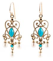 Sale 8915 - Lot 371 - A PAIR OF CANNETILLE STYLE TURQUOISE AND PEARL EARRINGS; 9ct gold wire work drops set with cabochon turquoise and pearls on shepherd...