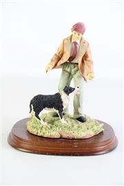Sale 8944T - Lot 698 - Leonards Collection Figural Group Of Sheep Dog & Farmer On Timber Base H20cm