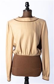 Sale 9003F - Lot 7 - A Vintage Valentino boutique beige wool top with brown piping around the collar, size 12