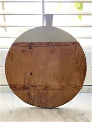 Sale 9087H - Lot 286 - Vintage French round shape timber bread / cheese board  50 cm