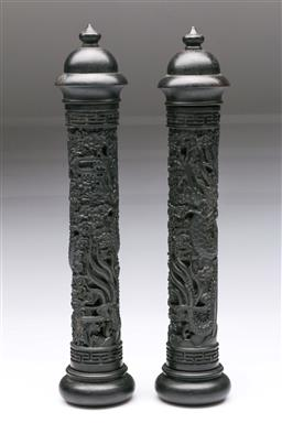 Sale 9098 - Lot 349 - Pair of Carved Timber Dragon Themed Incense Burners (L:28cm)