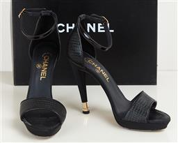 Sale 9120K - Lot 49 - A pair of Chanel Chaussures Ouve black leather heels; in original box and with dust bags, size EUR 37.5