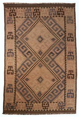 Sale 9123J - Lot 305 - A vintage Kilim rug, the diamond pattern within the central panel surrounded by a repeating geometric border over a tortilla coloure...