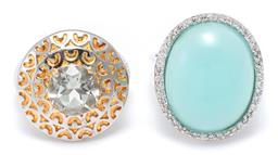 Sale 9156J - Lot 312 - TWO SILVER STONE SET COCKTAIL RINGS; one with round cut light blue topaz to gilt surround, width 20mm, size M, other with cabochon g...