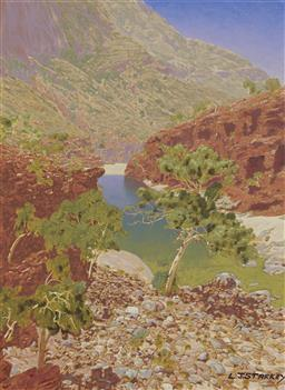 Sale 9178 - Lot 582 - LAWRENCE STARKEY (1959 - ) Ormiston Gorge oil on board 52 x 38.5 cm (frame: 77 x 64 x 4 cm) signed lower right, titled verso