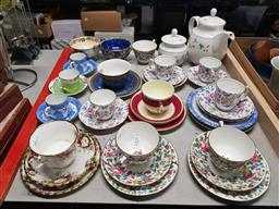Sale 9176 - Lot 2325 - Royal Doulton Teapot & Sugar Bowl with Maling Cups & Mixed Trios & Duos