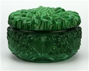 Sale 8130 - Lot 53 - Malachite Glass Lidded Container