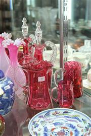 Sale 8189 - Lot 75 - Ruby Glass Decanter with Other Ruby Wares incl. Mary Gregory Style Jug