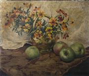 Sale 8224A - Lot 68 - Robert Boudry (Belgium 1878 - 1965) Impressionist - Still Life - Green Apples size 60 x 68 cm