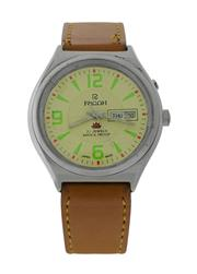 Sale 8406A - Lot 28 - Vintage mens Ricoh day / date wristwatch, automatic, 37 mm, in stainless steel case, heavy leather strap, fully restored.