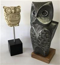 Sale 8725A - Lot 28 - A Svetoslav Djalazov Owl Sculpture for Austin Prod Mid Century 1968. Height 33cm on timber base, together with a white glazed example..