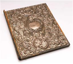 Sale 9122 - Lot 198 - Heavily Embossed Victorian Sterling Silver Book Cover (30cm x 23cm)