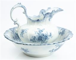 Sale 9185E - Lot 137 - A blue and white ceramic Chatsworth wash jug and basin by W.H Grindley, basin Width 44cm