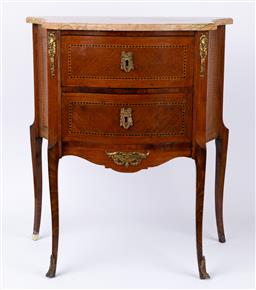 Sale 9135H - Lot 139 - A French Louis the XV style marble top commode, 72cm Height, 35cm Depth, 62cm Width