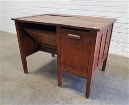 Sale 9134 - Lot 1527 - Early Penfolds Systems timber repurposed sewing desk with adjustable top & drop front door (:h80 x w:108 x d:77cm)