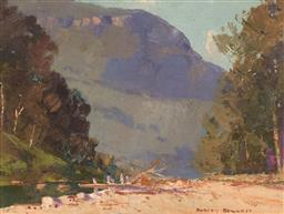 Sale 9161 - Lot 505 - WILLIAM RUBERY BENNETT (1893 - 1987) Burragorang Valley oil on card 14 x 19 cm (frame: 30 x 35 x 3 cm) signed lower right. Provenanc...