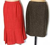 Sale 8173F - Lot 341 - FOUR VINTAGE SKIRTS; Jones New York brown wool (8), burgundy wool (8), Femina Sophia red (13) and Limited by Events cotton floral (12).