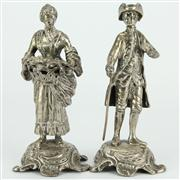 Sale 8239 - Lot 36 - English Hallmarked Sterling Silver Edward VII Pair of Figures