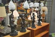 Sale 8272 - Lot 1071 - Three Pairs of Figural Base Table Lamps