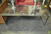 Sale 8312 - Lot 1038 - An Interesting Stainless Steel Framed Coffee Table, the Top made from Early Timber Printers Blocks